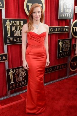 Jessica Chastain arrives at the 19th Annual Screen Actors Guild Awards held at The Shrine Auditorium on January 27, 2013 in Los Angeles (Photo by Getty Images) 