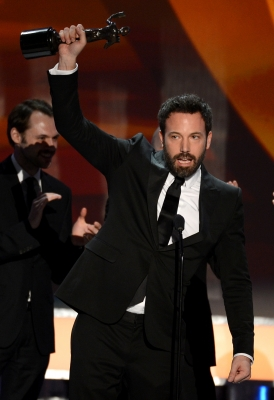 Ben Affleck accepts the award for Outstanding Performance by a Cast in a Motion Picture for &#8216;Argo&#8217; onstage during the 19th Annual Screen Actors Guild Awards held at The Shrine Auditorium on January 27, 2013 (Photo by Getty Images) 