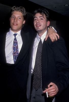 Sean Kanan and actor Robert Downey Jr. in Los Angeles outside the 2020 Club, November 16, 1988