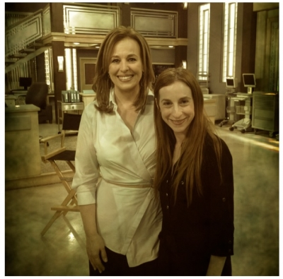 Genie Francis with Access Hollywood producer Sharon Spaeth on the set of 'General Hospital'