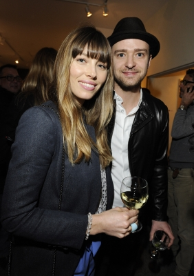 Newlyweds Jessica Biel and Justin Timberlake are seen at Darren LeGallo&#8217;s &#8216;Nothing You Don&#8217;t Know&#8217; Exhibition hosted by Trigg Ison Fine Art, Amy Adams and Justin Timberlake at Trigg Ison Fine Arts Gallery in Los Angeles on February 7, 2013 