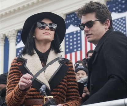 Katy Perry and John Mayer are seen at the inauguration for U.S. President Barack Obama's second term of office in Washington D.C. on January 21, 2013