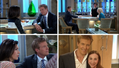 Jack Wagner shoots scenes as Frisco Jones on 'General Hospital,' and poses for a photo with our producer, Sharon Spaeth (bottom right)