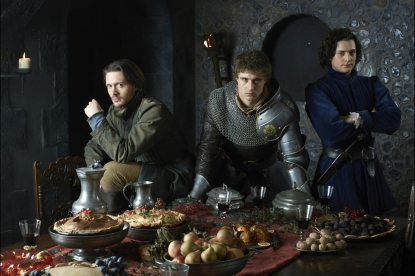 David Oakes, Max Irons and Aneurin Barnard in the Starz series 'The White Queen'