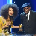 Esperanza Spalding and composer Thara Memory accept an award onstage during the 55th Annual GRAMMY Awards at Staples Center, Los Angeles, on February 10, 2013