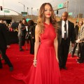 Rihanna looks radiant in red at the 55th Annual GRAMMY Awards at STAPLES Center on February 10, 2013 in Los Angeles