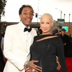 Wiz Khalifa and a very pregnant Amber Rose attend the 55th Annual GRAMMY Awards at STAPLES Center on February 10, 2013 in Los Angeles