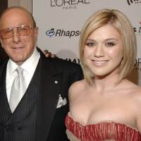 Clive Davis and Kelly Clarkson seen at the Clive Davis Pre-Grammy Awards Party in Los Angeles on February 7, 2006
