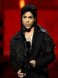 Prince speaks onstage at the 55th Annual Grammy Awards at Staples Center in Los Angeles on February 10, 2013