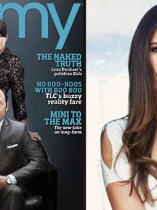 Kevin Spacey and Robin Wright from 'House of Cards' on the cover of EMMY magazine (left); 'Dallas' star Jordana Brewster, also from the new issue (right)