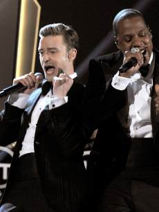 Justin Timberlake and Jay-Z on stage during the 55th Annual Grammy Awards at Staples Center in Los Angeles on February 10, 2013
