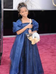 Quvenzhane Wallis arrives at the Oscars on February 24, 2013 in Hollywood, Calif.