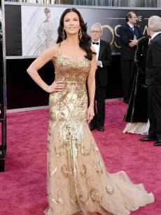 Catherine Zeta-Jones arrives at the Oscars on February 24, 2013 in Hollywood, Calif.