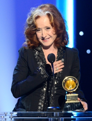 Bonnie Raitt accepts Best Americana Album for 'Slipstream' onstage at the The 55th Annual Grammy Awards at Nokia Theatre, Los Angeles, on February 10, 2013