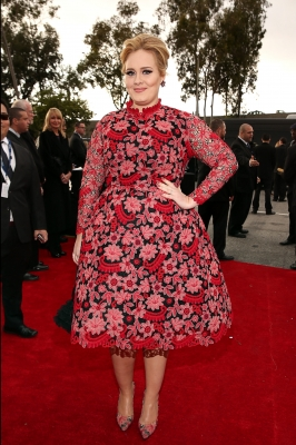 Adele sports a daring floral print dress at the 55th Annual GRAMMY Awards on February 10, 2013 in Los Angeles