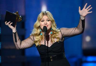 Kelly Clarkson accepts Best Pop Vocal Album award for 'Stronger' onstage at the 55th Annual Grammy Awards at Staples Center on February 10, 2013
