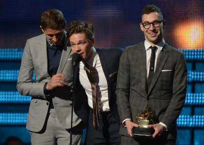 Fun. receive their Grammy for Best New Artist onstage at the 55th Annual Grammy Awards at Staples Center in Los Angeles on February 10, 2013