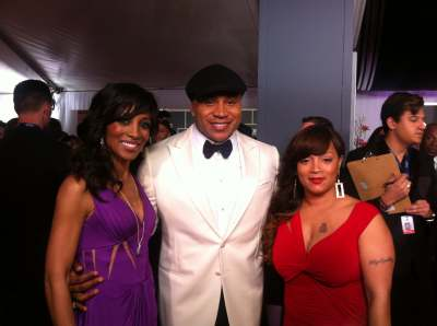 Access Hollywood&#8217;s Shaun Robinson with LL Cool J on the Grammys red carpet, Feb. 10, 2013