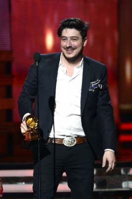 Marcus Mumford of Mumford & Sons accepts Album of the Year award for 'Babel' onstage at the 55th Annual Grammy Awards at Staples Center in Los Angeles on February 10, 2013