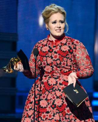 Adele accepts Best Pop Solo Performance for 'Set Fire to the Rain (Live)' onstage at the 55th Annual Grammy Awards at Staples Center in Los Angeles on February 10, 2013