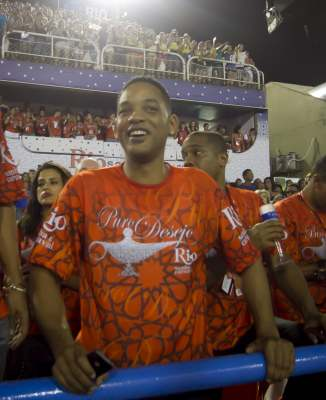Will Smith enjoys the 2013 Brazilian Carnival at Sapucaí Smbodrome in Rio de Janeiro, Brazil on February 10, 2013