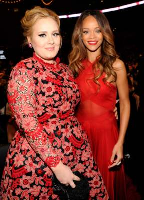 Adele and Rihanna attend the 55th Annual Grammy Awards on February 10, 2013 in Los Angeles