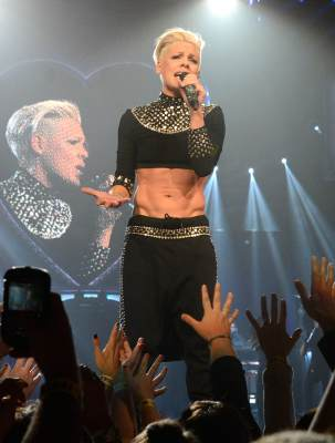 Pink shows off her incredible abs during her 'The Truth About Love' tour opener at US Airways Center in Phoenix, AZ, on February 13, 2013