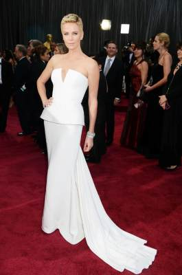 Charlize Theron arrives at the Oscars on February 24, 2013 in Hollywood, Calif.