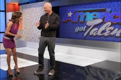 Howie Mandel and Access Hollywood's Kit Hoover, Feb. 12, 2013