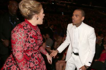 Adele and singer Chris Brown attend the 55th Annual Grammy Awards at Staples Center on February 10, 2013 in Los Angeles
