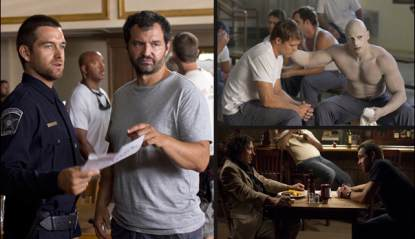 Greg Yaitanes with Antony Starr on the set of 'Banshee' (left); Michael Roark and Joseph Gatt in the 'Wicks' episode (top right); Michael Kostroff and Antony Starr, also in the 'Wicks' episode (bottom right)