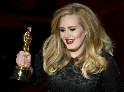 Adele accepts the Best Original Song award for &#8216;Skyfall&#8217; onstage during the Oscars held at the Dolby Theatre in Hollywood on February 24, 2013
