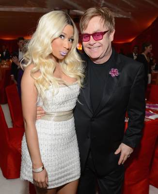 Nicki Minaj and Sir Elton John attend the 21st Annual Elton John AIDS Foundation Academy Awards Viewing Party at Pacific Design Center, West Hollywood, on February 24, 2013