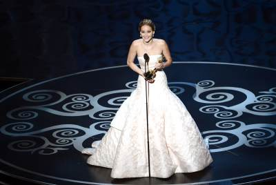 Jennifer Lawrence accepts the Best Actress award for 'Silver Linings Playbook' onstage during the Oscars held at the Dolby Theatre in Hollywood on February 24, 2013