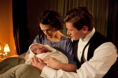 Jessica Brown-Findlay as Lady Sybil and Allen Leech as Tom Branson in PBS&#8217; Masterpiece series &#8216;Downton Abbey&#8217;