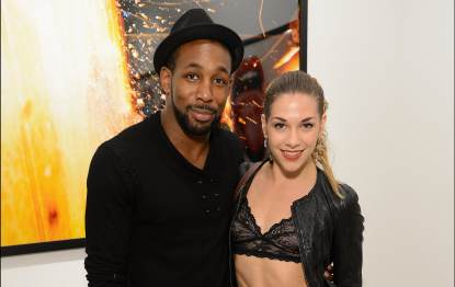 Stephen 'tWitch' Boss and Allison Holker attend Tyler Shields debut of MOUTHFUL presented by A/X Armani Exchange in support of LOVE IS LOUDER at a privates Studio in Los Angeles on May 19, 2012