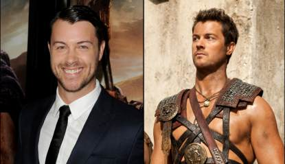 Dan Feuerriegel at the &#8216;Spartacus: War of the Damned&#8217; premiere in LA (left) and as Agron in the Starz series (right)