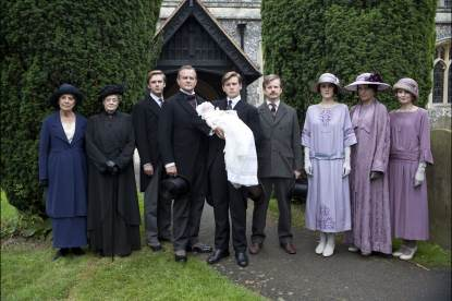 Penelope Wilton as Isobel Crawley, Maggie Smith as Violet, Dowager Countess, Dan Stevens as Matthew Crawley, Hugh Bonneville as Lord Grantham, Allen Leech as Tom Branson, Ruairi Conaghan as Kieran Branson, Michelle Dockery as Lady Mary Crawley, Elizabeth McGovern as Cora Countess of Grantham and Laura Carmichael as Lady Edith Crawley in PBS' Masterpiece series 'Downton Abbey'