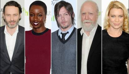Andrew Lincoln, Danai Gurira, Norman Reedus, Scott Wilson and Laurie Holden at the PaleyFest event for 'The Walking Dead,' at the Saban Theatre, Los Angeles, March 1, 2013