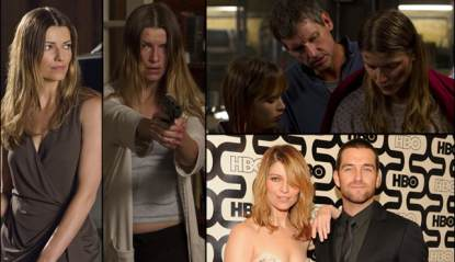Ivana Milicevic as Carrie Hopewell (Ana) in Cinemax's 'Banshee' (left); Top Right — Ryann Shane as Dava Hopewell, Rus Blackwell as Gordon Hopewell and Ivana as Carrie; Bottom right — Ivana and Antony Starr at HBO's Emmy party 2013