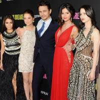 Vanessa Hudgens, Ashley Benson, James Franco, Selena Gomez and Rachel Korine arrive at the 'Spring Breakers' premiere at ArcLight Hollywood on March 14, 2013 in Hollywood