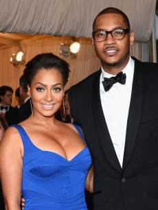 La La Anthony and Carmelo Anthony attend the 'Schiaparelli And Prada: Impossible Conversations' Costume Institute Gala at the Metropolitan Museum of Art in New York City on May 7, 2012