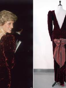 Princess Diana in velvet dress
