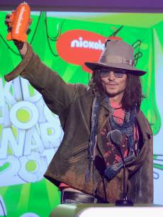 Johnny Depp accepts Favorite Movie Actor award for 'Dark Shadows' onstage during Nickelodeon's 26th Annual Kids' Choice Awards at USC Galen Center in Los Angeles on March 23, 2013