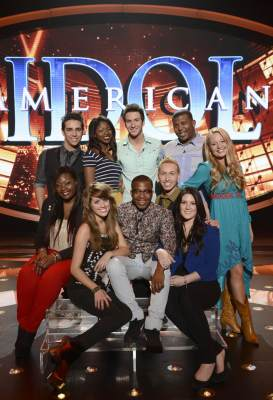 The 'American Idol' Season 12 Top 10: Clockwise From Top Left: Lazaro Arbos, Amber Holcomb, Paul Jolley, Curtis Finch, Jr., Janelle Arthur, Kree Harrison, Devin Velez, Burnell Taylor, Angie Miller and Candice Glover