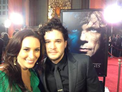 AccessHollywood.com&#8217;s Laura Saltman with Kit Harington (Jon Snow) at the &#8216;Game of Thrones&#8217; Season 3 premiere, TCL Chinese Theatre, Hollywood, March 18, 2013