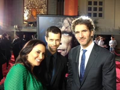 AccessHollywood.com's Laura Saltman with D.B. Weiss and David Benioff (the executive producers) at the 'Game of Thrones' Season 3 premiere, TCL Chinese Theatre, Hollywood, March 18, 2013