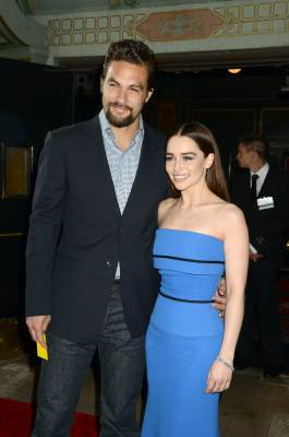 Jason Momoa and actress Emilia Clarke arrive to HBO's 'Game Of Thrones' Los Angeles Premiere at TCL Chinese Theatre on March 18, 2013