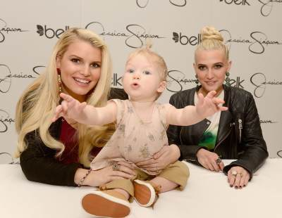 Jessica Simpson with her daughter Maxwell Johnson and sister Ashlee Simpson, visit Belk Southpark on March 23, 2013 in Charlotte, North Carolina