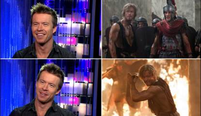 Todd Lasance visits Access Hollywood (left), Todd as Julius Caesar on &#8216;Spartacus: War of the Damned&#8217; (right)